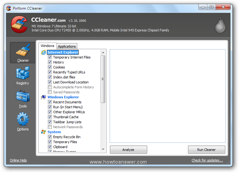 CCleaner program interface