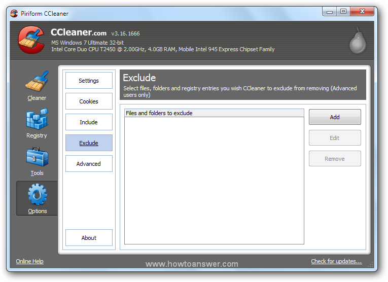 Exclude drive or folder in CCleaner