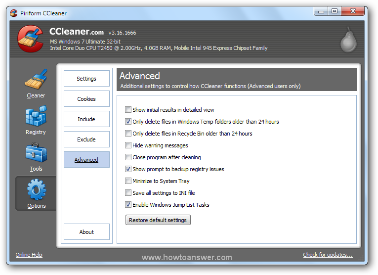 Accessing Options - Advanced in CCleaner