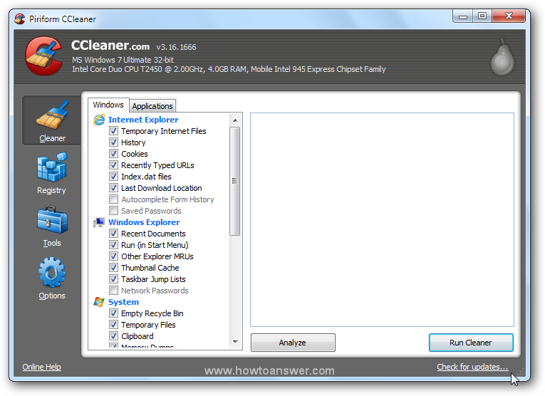 Run Cleaner in CCleaner
