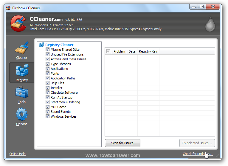 Registry feature of CCleaner