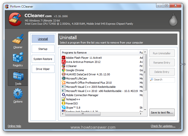 Accessing Tools - Uninstall in CCleaner