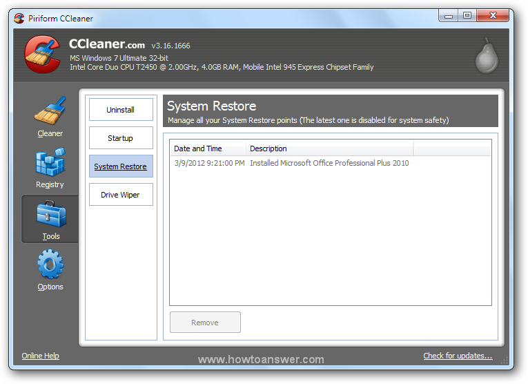 Accessing Tools - System Restore in CCleaner