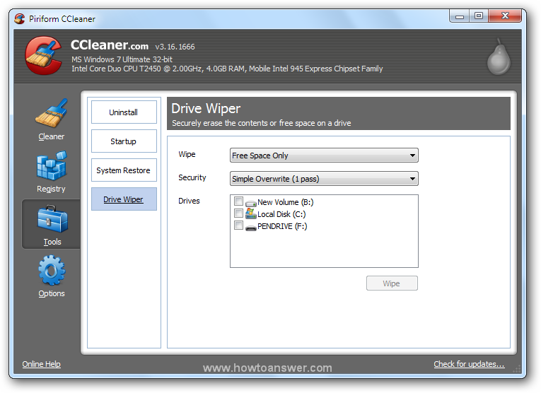 Accessing Tools - Drive Wiper in CCleaner