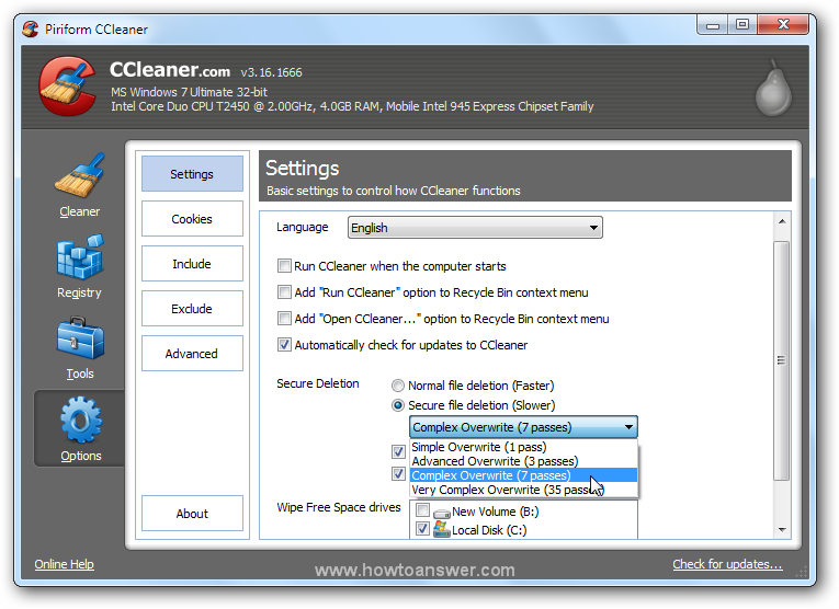 Accessing Options - Settings in CCleaner