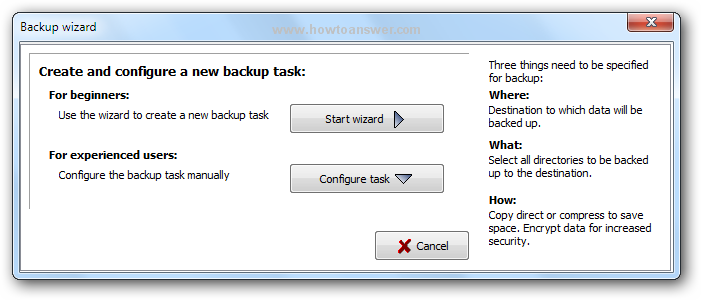 Create and configure a new backup task