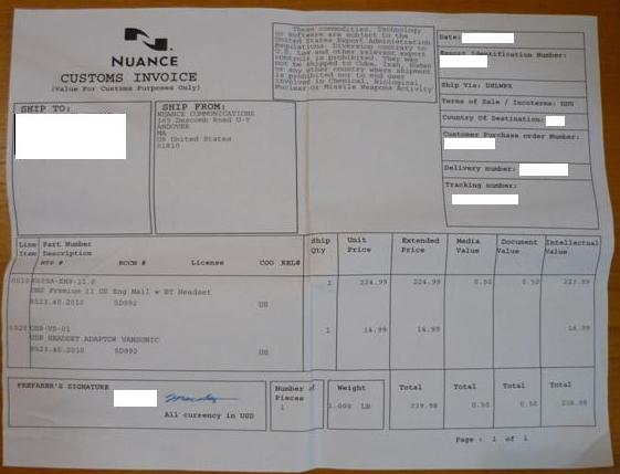 Nuance Customs Invoice