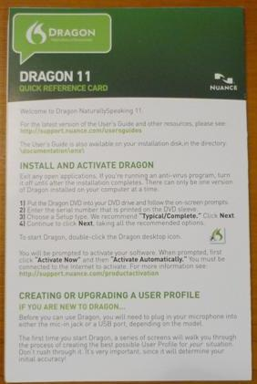 Dragon NaturallySpeaking Quick Reference Card