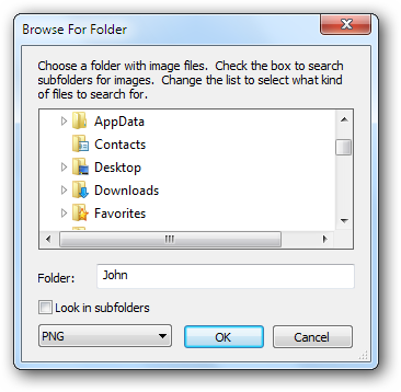 Browse for folder window
