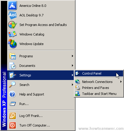 Accessing Control Panel from Start menu in Windows XP