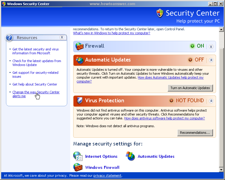 Going to - Change the way Security Center alerts me via Windows Security Center