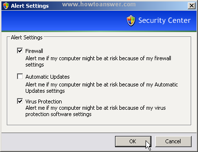 Disable Automatic Updates from Alert Settings window