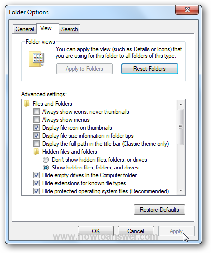 Show hidden files and folders in Windows 7