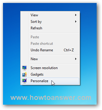 Accessing Personalize in Windows 7