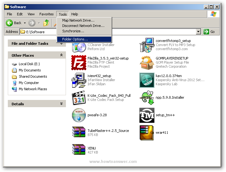 Accessing Tools - Folder Options inside a folder in Windows XP