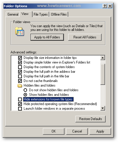 Unchecking hide extensions for known file types in Windows XP