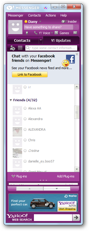 Yahoo Messenger interface