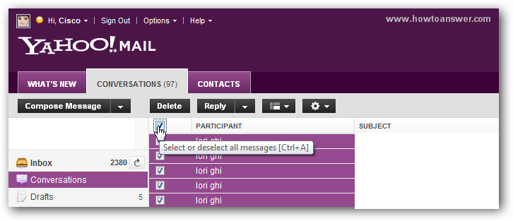Select multiple conversations from Yahoo email in order to delete them