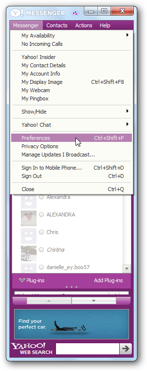 Accessing Yahoo Messenger Preferences