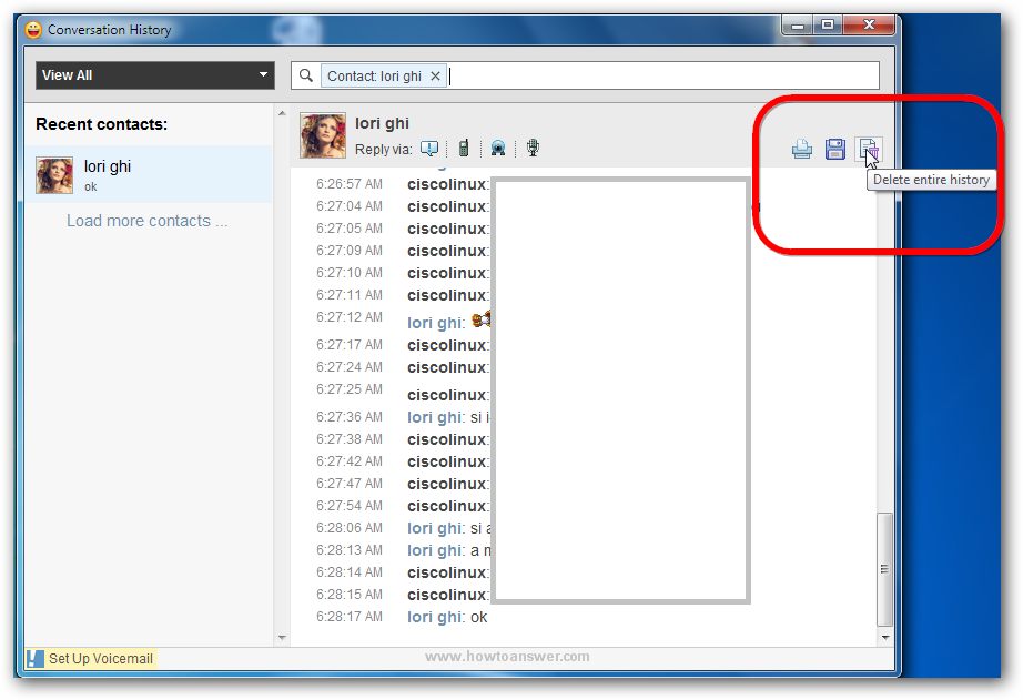 Example of a conversation history in Yahoo Messenger