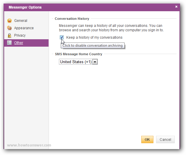 Disable Keep a history of my conversations in Yahoo email interface
